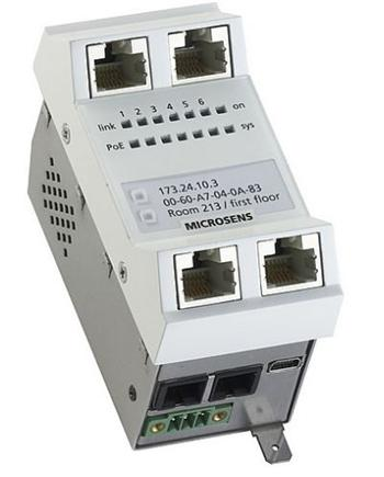 Gigabit Ethernet FTTO Micro-Switch 45x45 vertical,POE,4x100/1000T,1x1000LX Up (SM1310nm SC dup.),100/1000T Down,ver.G6, 48V DC